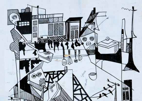 close up of the top half of the poster - protest graffiti in Beirut, a black and white line drawing by rasharahal