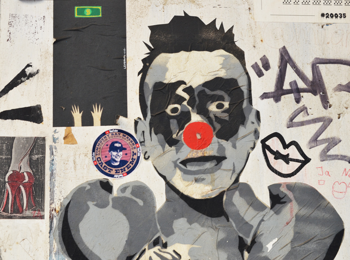 red nose graffiti by Mimi the clown