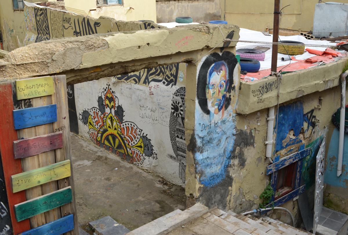 street art on Al Kahla stairs in Amman