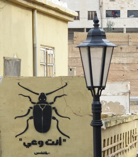 a black beetle graffiti on a yellow wall