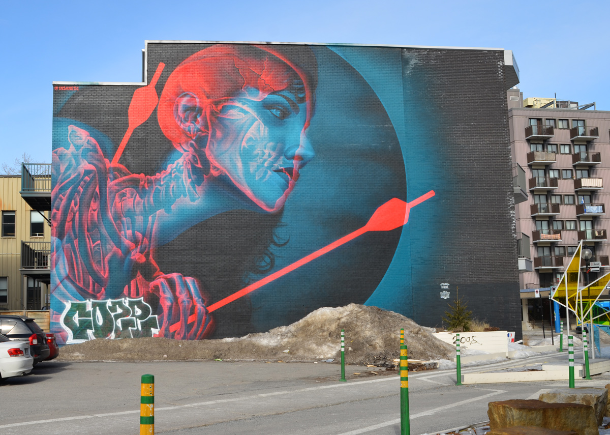 large mural, red and blue, of a woman showing skeleton and brain, as well as body pierced by two red arrows, designed to be viewed with 3 D galsses, painted in Montreal by insane51