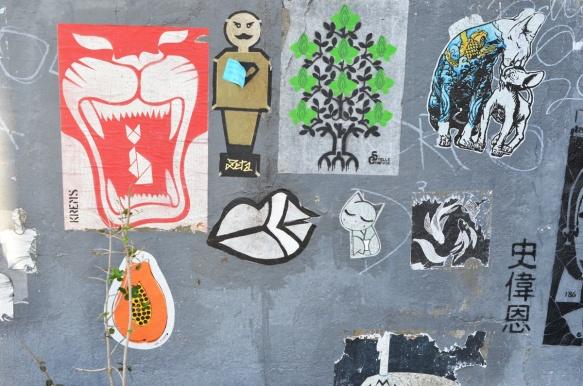many slaps on a grey wall