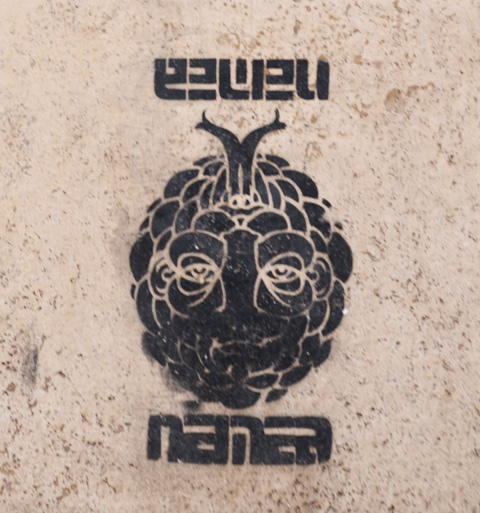 black and white stencil on a wall looks sort of like a face made of rounded shapes, with word namea or nanea