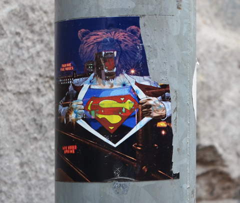 sticker with superman logo on undershirt