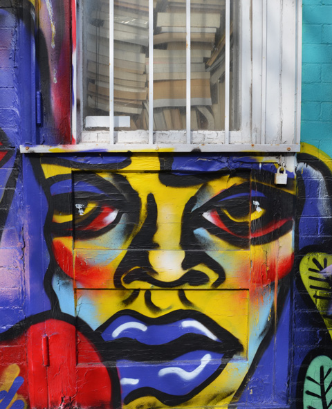 under a window with white metal bars on it, a face in yellows and blues