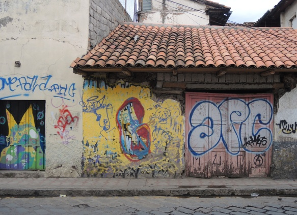 street art and graffiti on an abandoned building in Guayaquil Ecuador