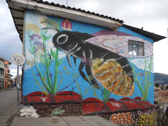 mural, a large bee with a crown above its head