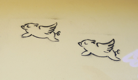stencil graffiti of the outlines of two pigs with wings, flying pigs