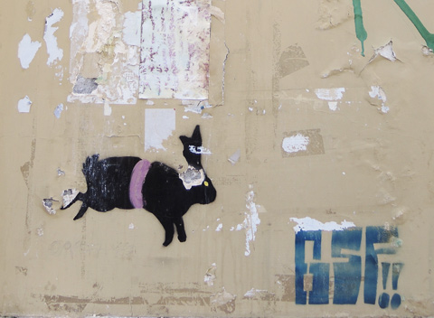 stencil graffiti of a black rabbit, also of the letters G S F